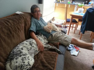 Relaxing with Uncle Byron and Koa
